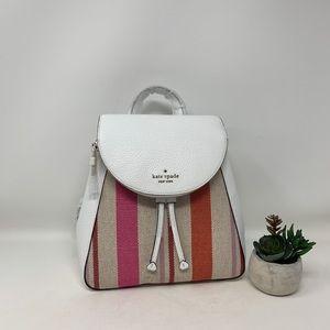 Kate Spade Leila Stripe Canvas MD Flap Backpack